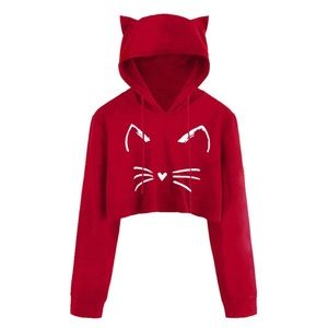 Tops - Cat Face Cropped Hoodie